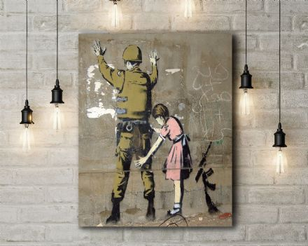 Banksy: Child Searching Soldier, Bethelehem. Fine Art Canvas.